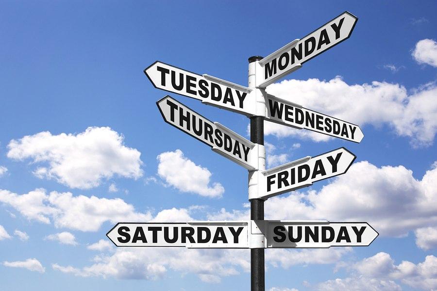 Указатели дней недели на английском языке
